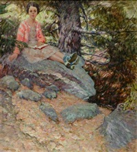 new hampshire woods, jane on rocks by henry ryan macginnis