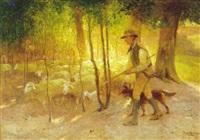 fårehyrde med hund og talrige får i skovlysning by franz gustav hochmann