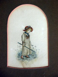young girl holding a green stick by kate greenaway