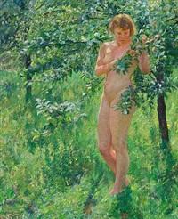 nogen kvinde i en have med frugttræer by max nathan
