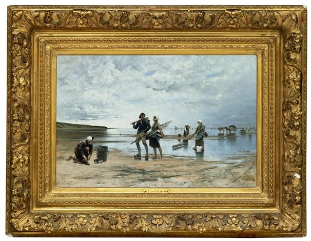 fiskare och musselplockerskor på stranden i bretagne by august vilhelm nikolaus hagborg