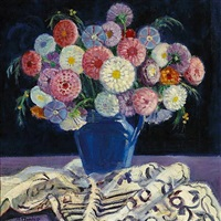 still life with zinnias by helena adele dunlap