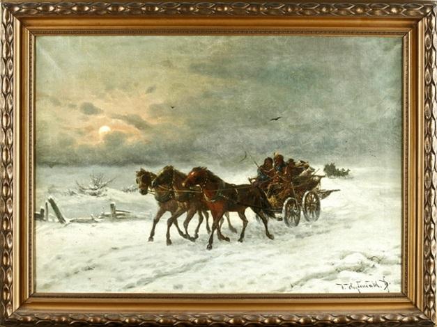 die troika im schnee by friedrich josef nicolai heydendahl