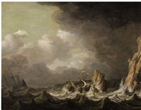 ships on rough seas by pieter mulier the elder