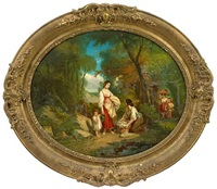 young children fishing on a river bank (+ a companion painting of young women with children washing clothes on a river bank; pair) by nicholas edward gabe