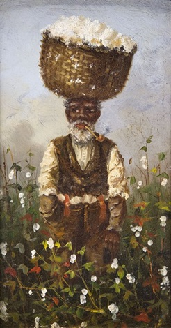 cotton picker smoking a pipe in the fields by william aiken walker