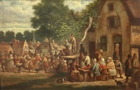 flemish figures dancing and drinking outside a tavern by j. g. buisson