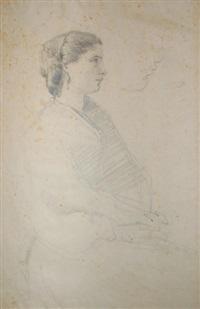 étude de jeune femme de profil (study) by jean-baptiste-camille corot