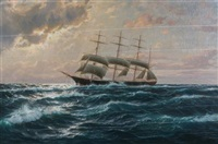 four-masted schooner on high seas by martin franz glüsing (francis-glüsing)