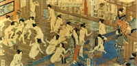 beauty contest at bath house (oban, triptych) by utagawa yoshiiku