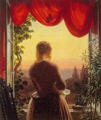 rygvendt kvinde ved åbenstående vindue by just jean christian holm