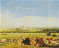 landskab med koer, i baggrunden by by frederik michael ernst fabritius de tengnagel