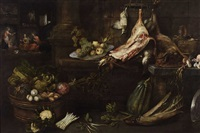 a kitchen still life with christ, mary and martha by frans ykens