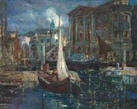 italiensk havneparti ved nattetide by alfred friedrich liebing