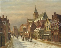 a dutch city view by adrianus eversen