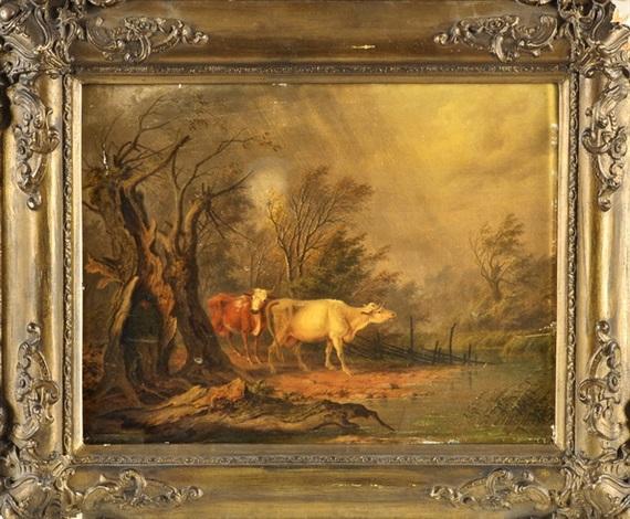 zwei kühe in verregneter landschaft mit knorrigem baum in dem sich ein hirte mit seinem hund unterstellt auf dem weg zur tränke by albert t kjellberg