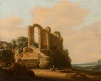 römische landschaft mit castello dell'aqua giulia by pieter anthonisz van groenewegen