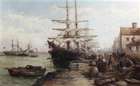 douglas harbour, isle of man (pair) by william edward webb