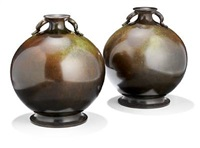 vases, narrow mouth with two small handles (pair) by just andersen
