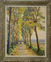 chemin bordé d'arbres by théodore de laps