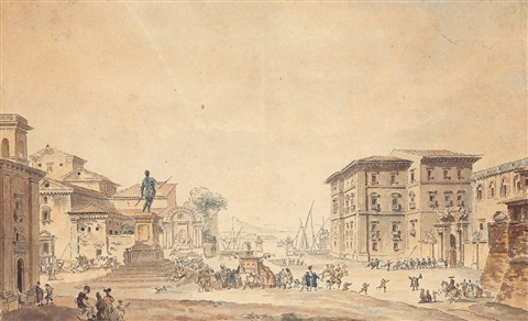 the piazza and palazzo reale in messina by louis jean desprez