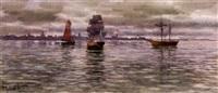 segelfartyg på redden - aftonljus by hjalmar falk
