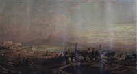 view across the bay of naples with vesuvius in the distance by harold joseph swanwick