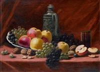 stillleben mit äpfeln, trauben und walnüssen auf brauner tischdecke by h. rivas