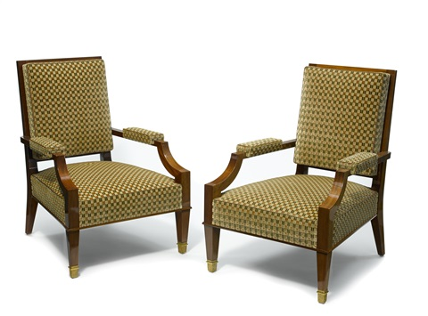 open armchairs pair by andre arbus