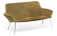 freestanding two seater clubsofa and matching clubchair (model 620/1 og 605/1) (pair) by poul norreklit