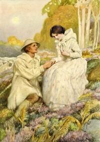 hirte hält in idyllischer heidelandschaft um die hand einer dame an by arthur percy dixon