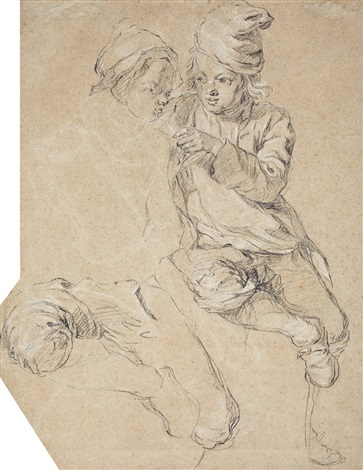 sketch of two young boys study of an arm verso by etienne jeaurat
