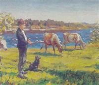 dreng med sin hund vogter koer ed en so by aleksanders sträls