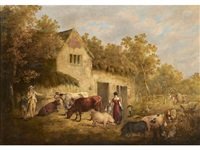 figures, cattle and pigs in front of a farmhouse by george morland