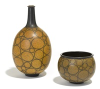 spotted bottle-form and bowl (set of 2) by harrison mcintosh
