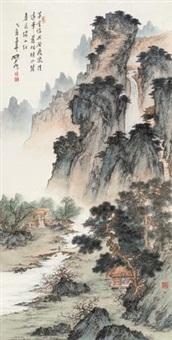 春山飞流图 (landscape) by ning dizhong