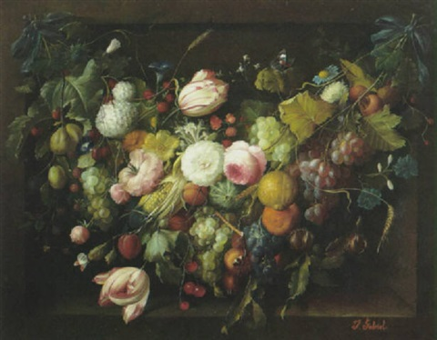a still life with a festoon of flowers grapes oranges and berries in a niche by francois gabriel