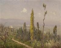 toskanische landschaft mit zypressen by alberto cecconi