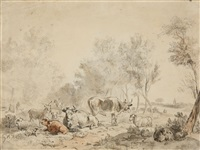 landscape with cattle and sheep by albert jansz klomp