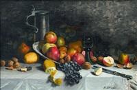 stillleben mit äpfeln, trauben, walnüssen und zitronen by h. rivas