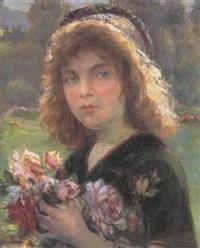 lille pige med blomsterbuket by albert baure