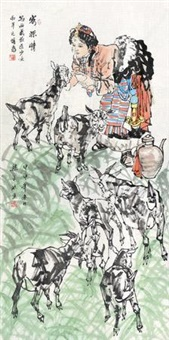 寄深情 镜片 设色纸本 by liang pingbo