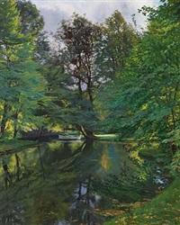 landskab med robåd under skyggefulde træer by hans julius faester