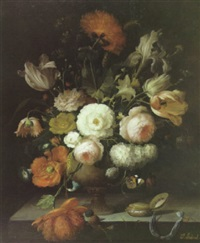 a still life with roses, tulips and other flowers in an urm and a pocket watch on a ledge by isabelle gabriel