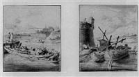 zwei flusslandschaften mit booten by hendrik rietschoof