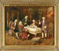 szene im salon mit fünf herren by louis van hoorde