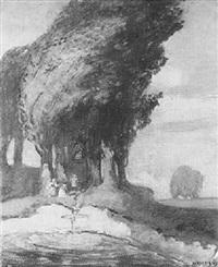 pappel im sturm, darunter marienbildstock und wanderer bei der andacht by stanislaus von korzeniewski