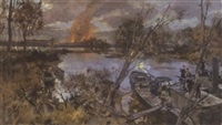 battle scene along the river by rudolfowitsch frenz