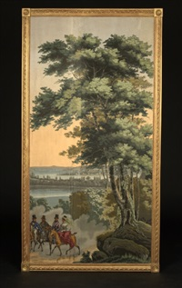 new york bay (from vues d'amerique du nord wallpaper panels) by jean zuber