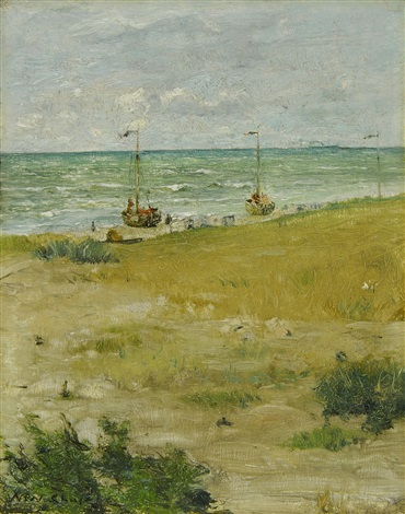 sailboats on beach by william merritt chase